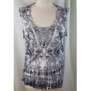 One World Tank Top Blouse Paisley Burnout L Grey